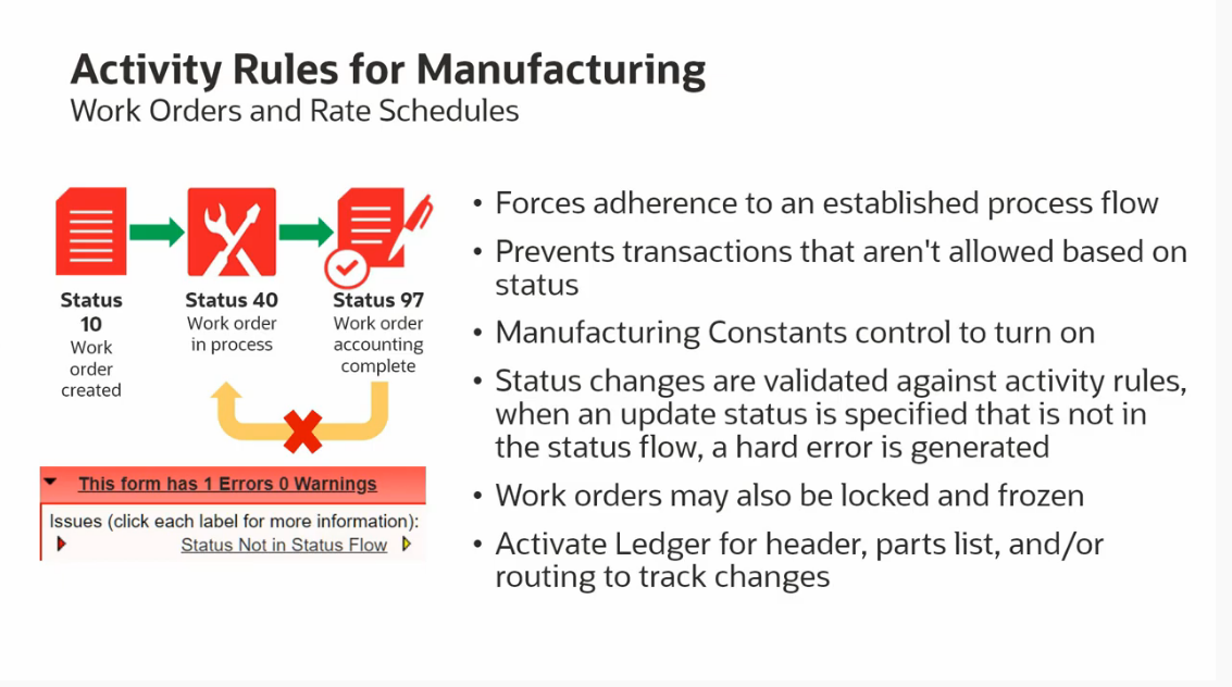 Activity Rules and Ledger For Manufacturing in JD Edwards